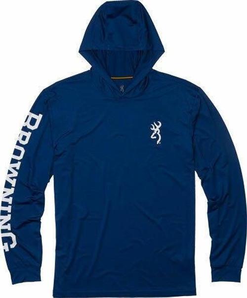 Browning Bg Hooded Long Sleeve Tech T- - Shirt Navy Blue Large