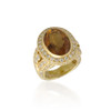Oval Citrine Ring with Diamond Halo