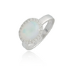 Large Opal White Gold Ring