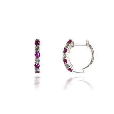 Seven Stone Diamond and Ruby Earrings