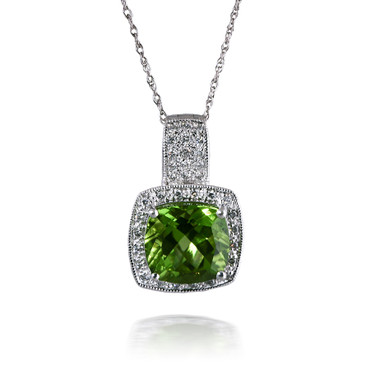 Dazzling Cushion Peridot and Diamond Pendant