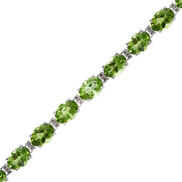 Classic Round Diamond and Oval Peridot Tennis Bracelet