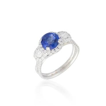Round Sapphire Ring with Diamond Halos