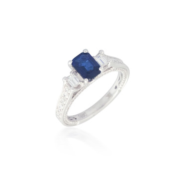 Emerald-Cut Sapphire and Diamond Ring