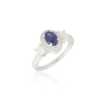 Violet Oval Sapphire and Diamond Ring