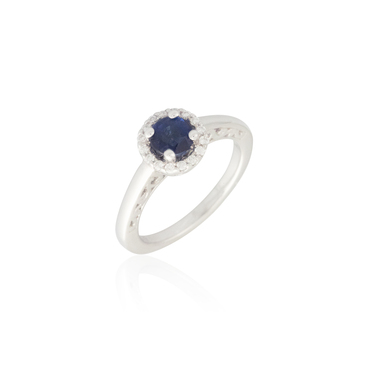 Round Blue Sapphire Ring with Diamond Halo