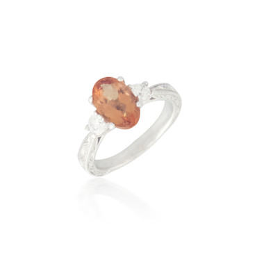 Three Stone Orange Topaz and Diamond Ring