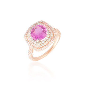 Pink Sapphire Ring with Triple Diamond Halo
