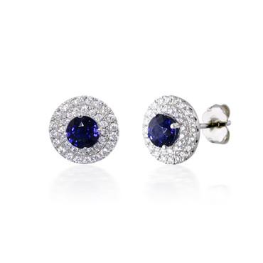 Double Diamond Halo and Sapphire Earrings
