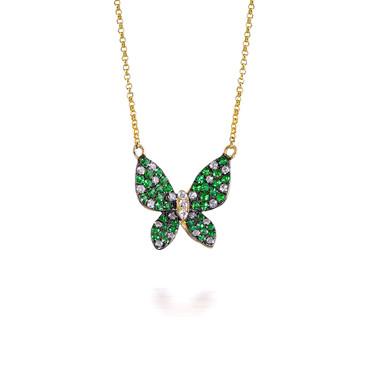 Tsavorite Garnet Butterfly Pendant