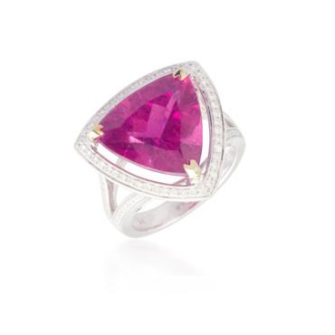 Pink Tourmaline Ring with Diamond Halo