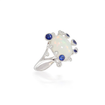Oval Opal Ring withSapphires and Diamonds