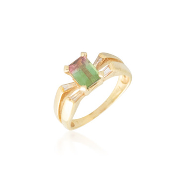 Emerald-cut Watermelon Tourmaline Ring