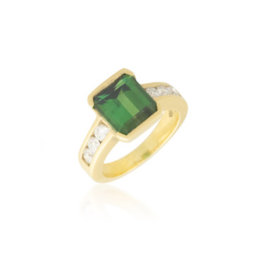 Green Tourmaline Ring with Acid Gold Finish