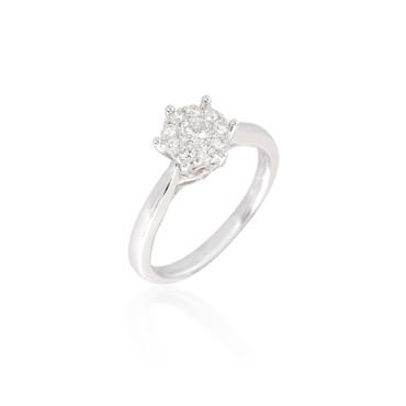 Classic Round Diamond Cluster Ring