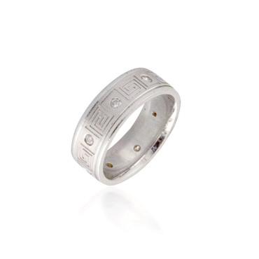 Engraved Eternity Diamond Wedding Band