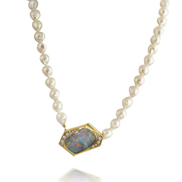 Boulder Opal Pendant on Fresh Water Pearl Necklace