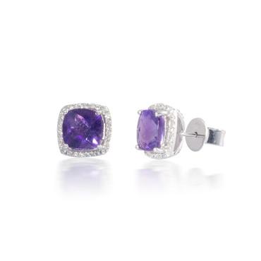 Cushion Halo Diamond and Amethyst Earrings