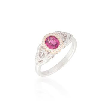 Two Tone Pink Tourmaline Ring