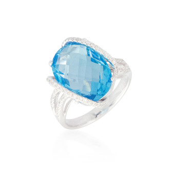 Oval Blue Topaz Ring with Side Diamonds