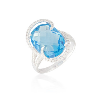 Round Blue Topaz Ring with a Diamond Design