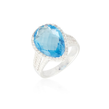 Pear-Shaped Blue Topaz Ring with Halo