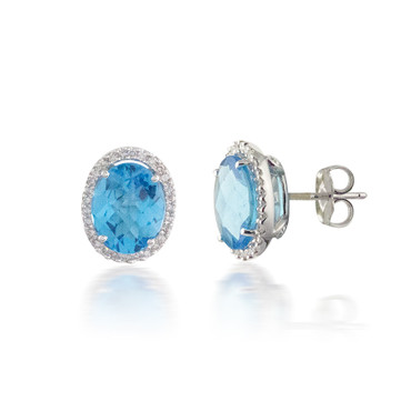 Oval Blue Topaz and Diamond Earrings