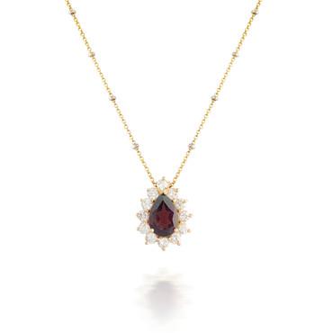 Garnet and Flower Diamond Halo Pendant