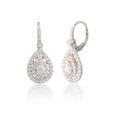 Double Diamond Pear Halo Earrings