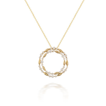 Diamond and Yellow Gold Circle Pendant