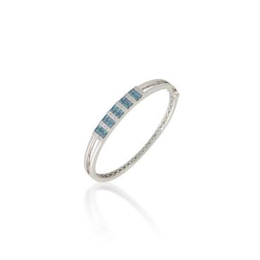 Blue and White Diamond Bangle Bracelet
