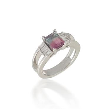 Bi-Color Tourmaline Ring with Baguette Diamond