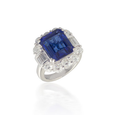 Tanzanite Ring with Diamond Halo