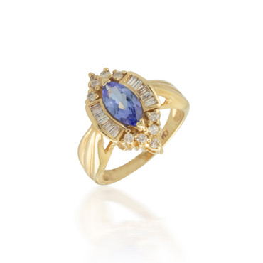Tanzanite Ring with Baguette and Round Diamond Halo