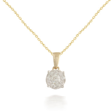 Tiny Yellow Gold Diamond Pendant