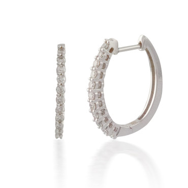 1.00ct Classic Oval Diamond Hoop Earring