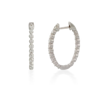 2.00ct Oval Button-back Diamond Hoop Earring