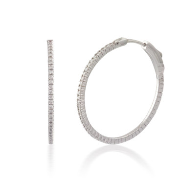 0.50ct Round Button-back Diamond Hoop Earring