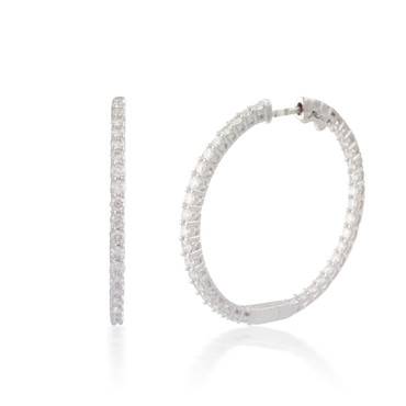 2.00ct Round Button-back Diamond Hoop Earring