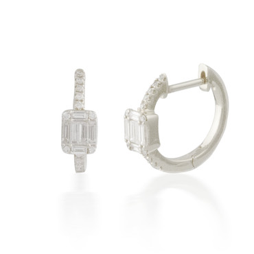 0.33ct Tiny Diamond Cluster Hoop Earring