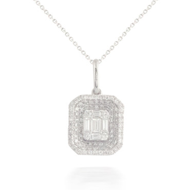 Grooved Baguette and Round Diamond Pendant