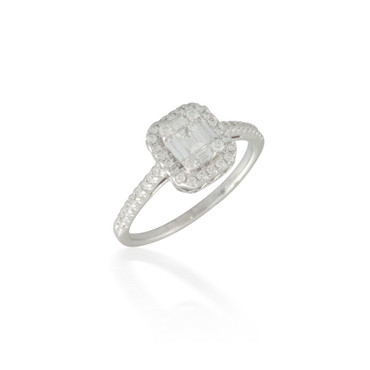 Baguette and Round Diamond Cluster Ring