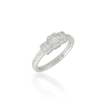 Three Baguette and Round Diamond Cluster Ring