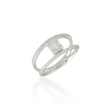 Spaced Baguette and Round Diamond Cluster Ring
