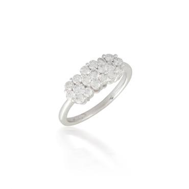 Triple Round Diamond Cluster Ring