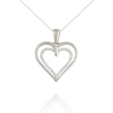 0.10ct Radiating Diamond Heart Pendant