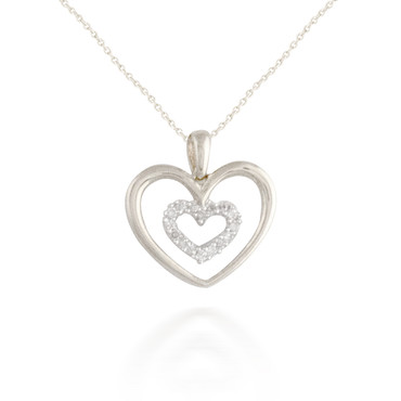0.07ct Radiating Diamond Heart Pendant