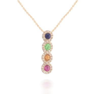 Rainbow Sapphire and Diamond Pendant 2