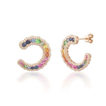 Rainbow Sapphire and Diamond Horseshoe Earrings