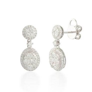 1.65ctw Diamond Oval Cluster Stud Earrings